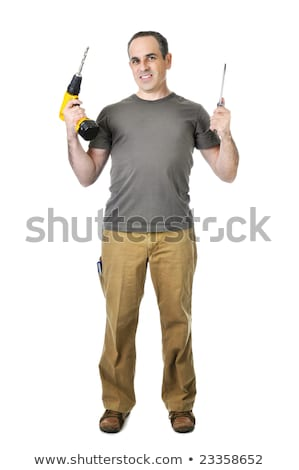 Smiling tradesman holding a screwdriver Stock photo © photography33