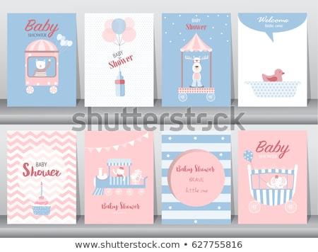 bebê · menino · chuveiro · cartão · brinquedo · trem - foto stock © balasoiu