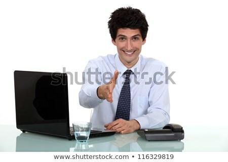 Buzgó férfi tart kéz ki kézfogás Stock fotó © photography33