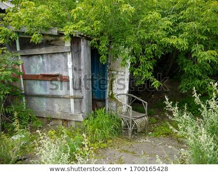 Eski koltuk terkedilmiş sundurma kırık cam kırsal Stok fotoğraf © sirylok
