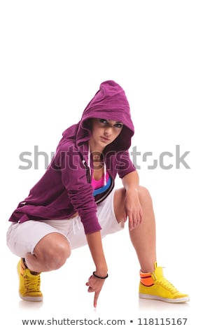 crouched hip hop woman dancer Stock photo © feedough