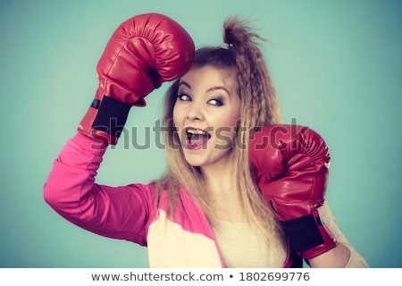 playful blond girl in boxers gloves stock photo © acidgrey