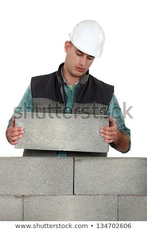 Nudzić handlowiec bloków tle pracownika Zdjęcia stock © photography33