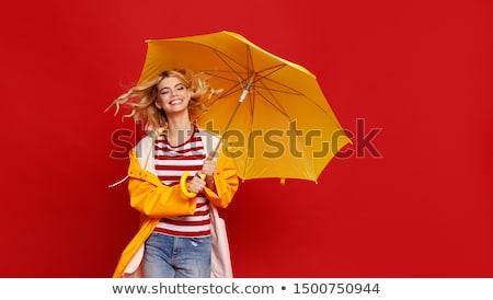 jonge · vrouw · Blauw · denim · pak · paraplu - stockfoto © acidgrey