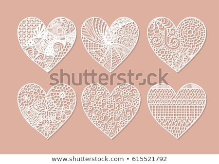 Romantique dentelle coeur carte vintage style Photo stock © marimorena