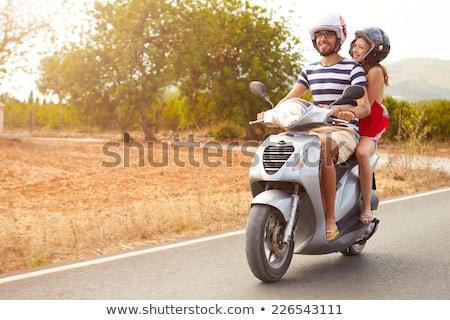 幸せ · カップル · 運転 · スクーター · 夏 - ストックフォト © maridav