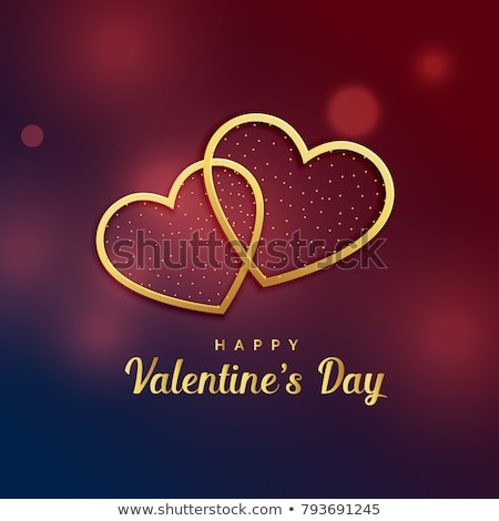 love background with two golden hearts vector illustration stock photo © carodi