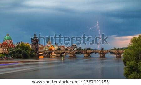 Yıldırım Prag sağanak şehir Çek Cumhuriyeti uzun pozlama Stok fotoğraf © rglinsky77