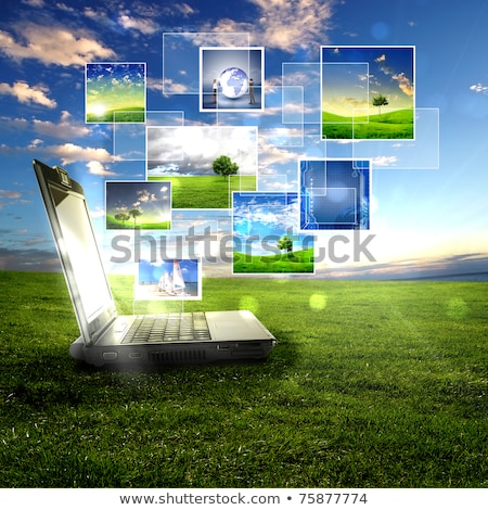 white keyboard on the grass and blue sky stock photo © arcoss