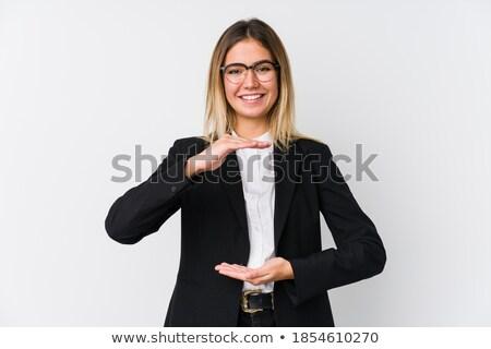 mujer · senalando · manos · sonriendo · jóvenes · marco - foto stock © wavebreak_media