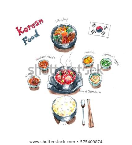 Korean side dishes in seoul restaurant Stock photo © travelphotography