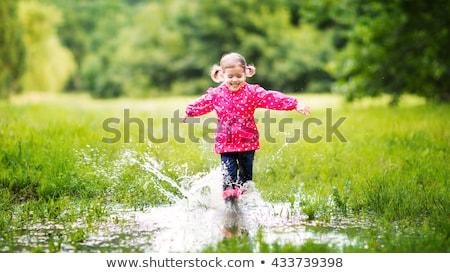 少女 水たまり 跳ね デザイン 芸術 ストックフォト © cteconsulting