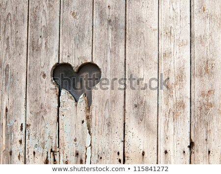 heart in old wooden door foto stock © bertl123