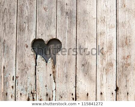 Сток-фото: сердце · старые · двери · любви · древесины