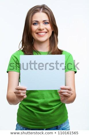 női · igazgató · tart · üres · kártya · iroda · portré - stock fotó © wavebreak_media