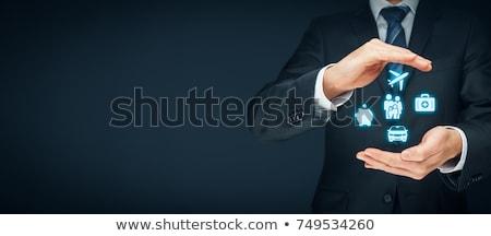 финансовых страхования Piggy Bank замок цепь деньги Сток-фото © Grazvydas