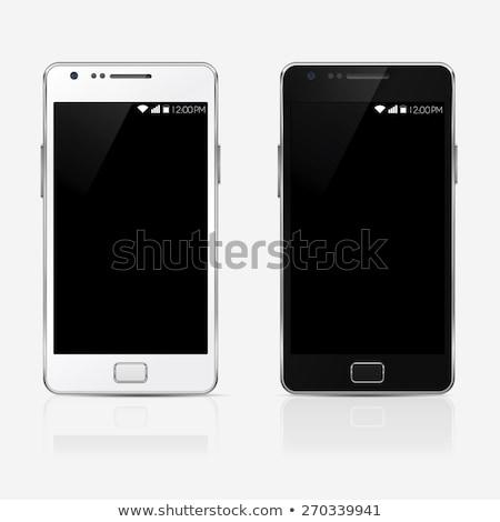 電話 長方形の ベクトル ボタン セット アイコン ストックフォト © SolanD