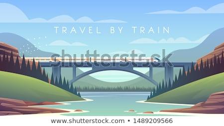 поезд моста желтый движущихся стали путешествия Сток-фото © fxegs