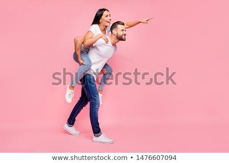 Lányok mutat érzések laptop készít vicces Stock fotó © Lighthunter