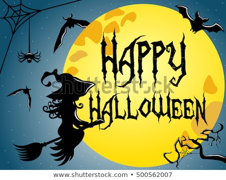 happy halloween young witch with a bat vector stock photo © carodi