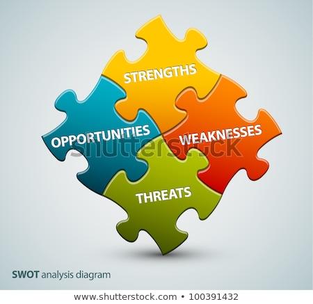 SWOT on Blue Puzzle Pieces. Business Concept. Stock photo © tashatuvango