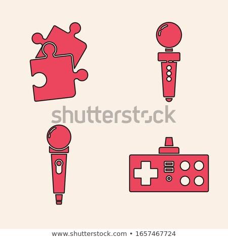Microphone Icon on Red Puzzle. Stock photo © tashatuvango