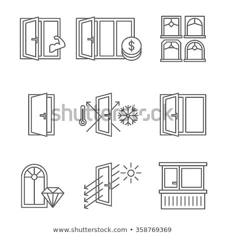 verdubbelen · Open · deur · illustratie · witte · muur · ontwerp - stockfoto © djdarkflower