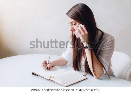 Gyönyörű nő találkozó toll háttér űr idő Stock fotó © trendsetterimages