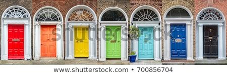 ドア ダブリン ヴィンテージ 黄色 ターコイズ 壁 ストックフォト © Hofmeester