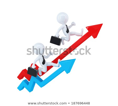 Сток-фото: Businesspeople Running Over Graph Arrows Business Concept Isolated Contains Clipping Path