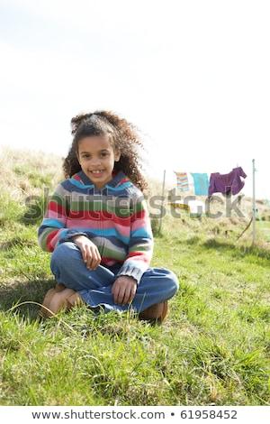 Foto stock: Jovem · meninas · sessão · fora · caravana · parque