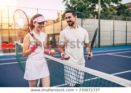 Fiatal pér teniszpálya fiatal gyönyörű pár lány Stock fotó © vlad_star
