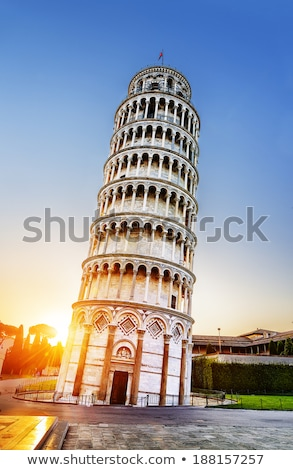 Pisa leaning tower and cathedral at sunrise Stock photo © vwalakte