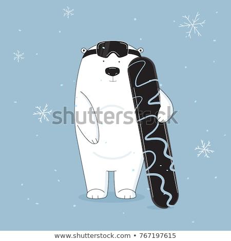 Baba snowbordos vicces rajz vektor izolált Stock fotó © ddraw
