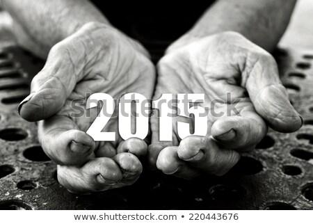 Abrir mãos número 2015 feliz ano novo Foto stock © stevanovicigor