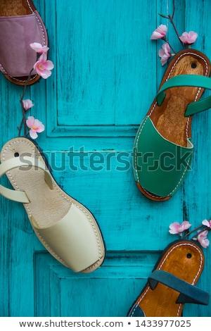 Bleu sandales cuir isolé blanche mode Photo stock © zhekos