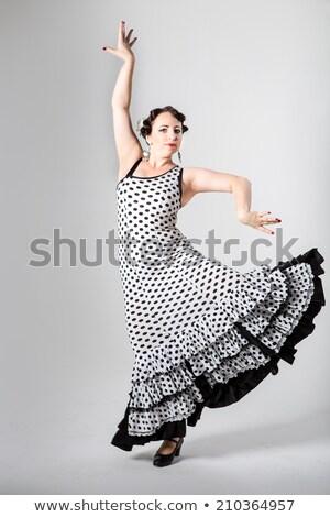 Mulher jovem dança flamenco ventilador preto mulher Foto stock © artjazz