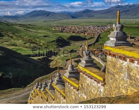 Tapınak duvar Çin gökyüzü doğa manzara Stok fotoğraf © jameswheeler