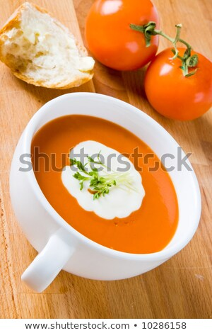Tomato soup with cream and cress Stock photo © raphotos