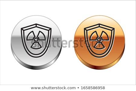 Radioactive Sign Gold Vector Icon Button Stock photo © rizwanali3d