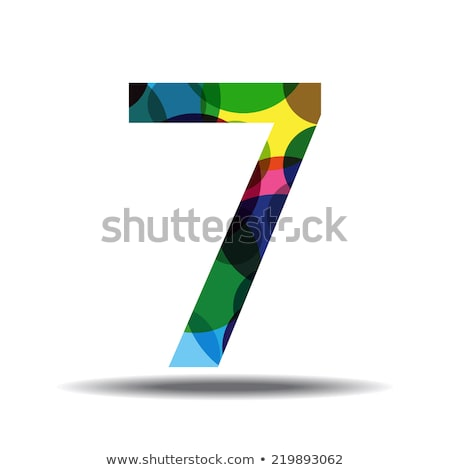Stock photo: 7 Number Circular Vector Green Web Icon Button