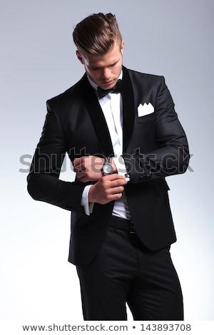 Mann tragen Smoking Porträt schönen lächelnd Stock foto © iko