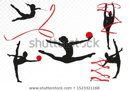 kid girl ball rhythmic gymnastics exercise on white stock photo © lunamarina