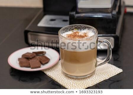 lijn · koffiebonen · beker · koffie · witte · frame - stockfoto © dla4