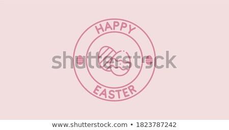 Happy Easter round badge easter bunny Stock photo © Wetzkaz