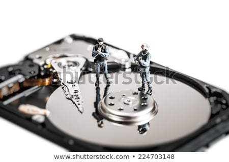 miniature soldiers protecting computer hard drive technology concept stock photo © kirill_m