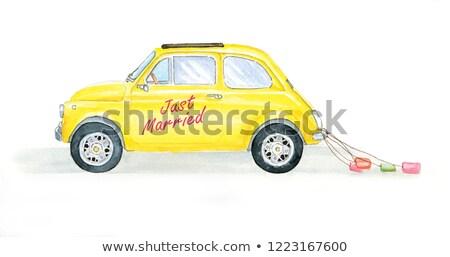 Klasszikus citromsárga cabrio rajzolt illusztráció sport Stock fotó © Kirill_M