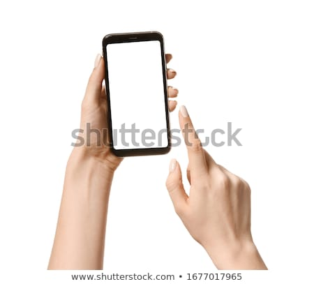 Cell phone in hands on white background Stock photo © Lizard