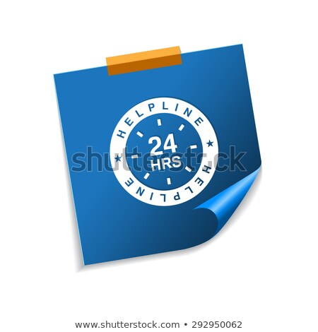 24 Hours Helpline Support Blue Sticky Notes Vector Icon Stock photo © rizwanali3d