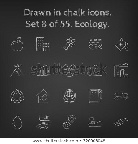 Staafdiagram blad icon krijt Stockfoto © RAStudio